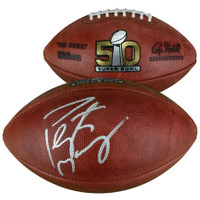 PEYTON MANNING Autographed Denver Broncos Super Bowl 50 Authentic Duke Football FANATICS