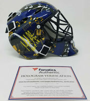 "MARTIN BRODEUR Autographed/Inscribed St. Louis Blues ""HOF 18"" Mini Goalie Mask FANATICS"