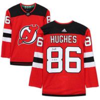 "JACK HUGHES Autographed ""2019 #1 PIck"" Authentic New Jersey Devils Adidas Jersey FANATICS"