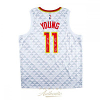 "TRAE YOUNG Autographed Atlanta Hawks ""True To ATL"" Away White Jersey PANINI LE 111"