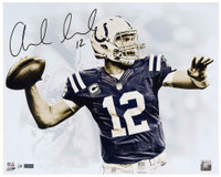 "ANDREW LUCK Autographed Indianapolis Colts 16 x 20 ""White Out"" Photograph PANINI LE 25"