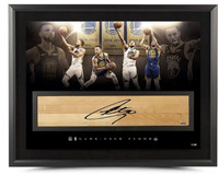 "STEPHEN CURRY Autographed NBA Game-Used Floor ""Champion"" 36x24 Photo Limited to 30 UDA"