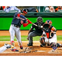 "JUAN SOTO Washington Nationals Autographed 16"" x 20"" 2019 World Series Champions Game 1 Home Run Photograph FANATICS"