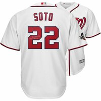 JUAN SOTO Washington Nationals Autographed 2019 World Series Champions White Majestic Replica Jersey FANATICS