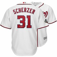 MAX SCHERZER Washington Nationals Autographed 2019 World Series Champions White Majestic Replica Jersey FANATICS