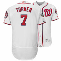 TREA TURNER Washington Nationals Autographed 2019 World Series Champions White Majestic Authentic Jersey FANATICS
