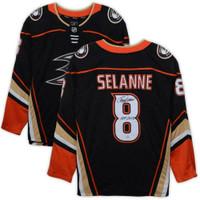 """TEEMU SELANNE Autographed Anaheim Ducks """"HOF 2017"""" Black Breakaway Jersey FANATICS"""