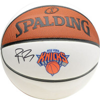 R.J. BARRETT Autographed NY Knicks White Panel Spalding Basketball FANATICS