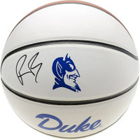 R.J. BARRETT Autographed Duke Blue Devils White Panel Basketball FANATICS