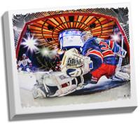 HENRIK LUNDQVIST Hand Signed NY Rangers In Net 22 x 26 Canvas STEINER
