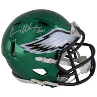 CARSON WENTZ Autographed Philadelphia Eagles Chrome Speed Mini Helmet FANATICS