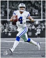 "DAK PRESCOTT Autographed Cowboys ""Scramble"" 16 x 20 Photograph PANINI LE 4/20"
