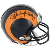 "ERIC DICKERSON Autographed ""HOF '99"" Los Angeles Rams Mini Helmet FANATICS"