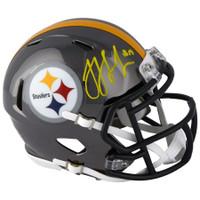 JuJu Smith-Schuster Autographed Pittsburgh Steelers Chrome Mini Speed Helmet FANATICS