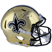 DREW BREES Autographed New Orleans Saints Proline Chrome Authentic Speed Helmet FANATICS
