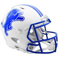 Detroit Lions Riddell Flat White Matte Revolution Speed Authentic Helmet