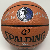 "LUKA DONCIC Dallas Mavericks Logo Autographed ""19 ROY"" Spalding Basketball FANATICS"