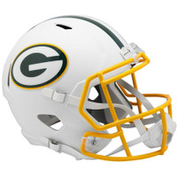 Green Bay Packers NFL Riddell Flat White Matte Revolution Speed Replica Helmet