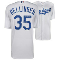 "CODY BELLINGER Autographed Los Angeles Dodgers ""2017 NL ROY"" Home Jersey FANATICS"