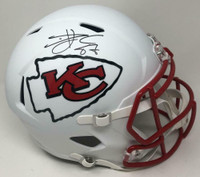 TRAVIS KELCE Autographed Kansas City Chiefs White Matte Speed Full Size Helmet FANATICS