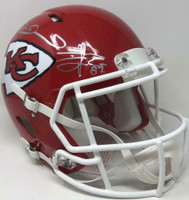 PATRICK MAHOMES / TRAVIS KELCE Signed Kansas City Chiefs Speed Authentic Helmet FANATICS