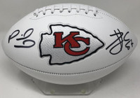 PATRICK MAHOMES / TRAVIS KELCE Autographed Kansas City Chiefs White Panel Football FANATICS