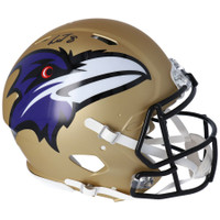 LAMAR JACKSON Autographed Baltimore Ravens AMP Speed Authentic Helmet FANATICS