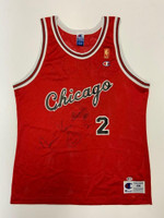 NORM VAN LIER Autographed Chicago Bulls Home Red Champion Jersey BECKETT