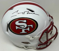 JERRY RICE Autographed San Francisco 49ers White Matte Authentic Speed Helmet FANATICS