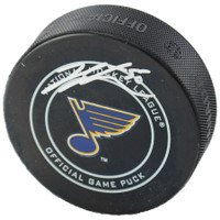 JORDAN BINNINGTON Autographed St. Louis Blue Official Game Puck FANATICS