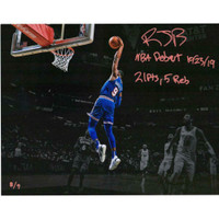 "R.J. BARRETT New York Knicks Autographed ""NBA Debut 10/23/19"" Spotlight Photograph FANATICS"