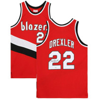 CLYDE DREXLER Autographed Portland Trailblazers Red M&N Jersey FANATICS