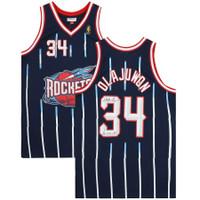 "HAKEEM OLAJUWON Autographed ""HOF 08"" Houston Rockets Blue Jersey FANATICS"