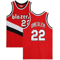 "CLYDE DREXLER Autographed ""The Glide"" Portland Trailblazers Red M&N Jersey FANATICS"
