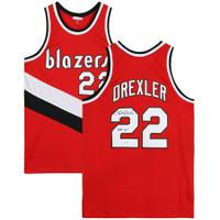 "CLYDE DREXLER Autographed ""HOF '04"" Portland Trailblazers Red M&N Jersey FANATICS"