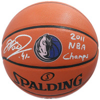 "DIRK NOWITZKI Autographed ""2011 NBA Champs"" Dallas Mavericks Logo Basketball FANATICS"