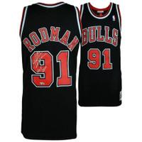 "DENNIS RODMAN Autographed Chicago Bulls ""HOF 2011"" Black Jersey FANATICS"