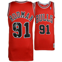 "DENNIS RODMAN Autographed ""HOF 2011"" Chicago Bulls Red M&N Jersey FANATICS"