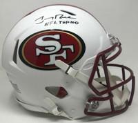 """JERRY RICE Autographed """"NFL Top 100"""" White Matte San Francisco 49ers Authentic Helmet FANATICS LE 5"""