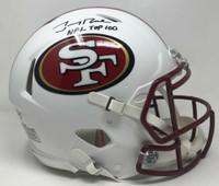 """JERRY RICE Signed """"NFL Top 100"""" White Matte Authentic San Francisco 49ers Helmet FANATICS LE 5/5"""