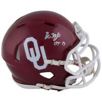 "BAKER MAYFIELD Autographed Oklahoma Sooners ""HT 17"" Mini Helmet FANATICS"
