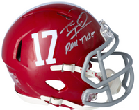 "TUA TAGOVAILOA Autographed Alabama Crimson Tide ""Roll Tide"" Speed Mini Helmet FANATICS"