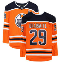LEON DRAISAITL Autographed Edmonton Oilers Orange Breakaway Jersey FANATICS