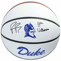 ZION WILLIAMSON & R.J. BARRETT Autographed Duke Blue Devils White Panel Basketball FANATICS