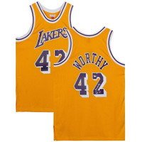 "JAMES WORTHY Autographed ""HOF '03"" Los Angeles Lakers Jersey FANATICS"