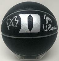 ZION WILLIAMSON & R.J. BARRETT Autographed Duke Logo Black Basketball FANATICS