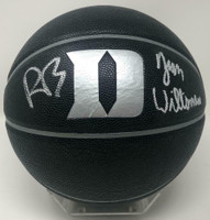 ZION WILLIAMSON & R.J. BARRETT Autographed Duke Logo Black Basketball FANATICS