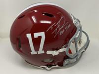 "TUA TAGOVAILOA Autographed Alabama Crimson Tide ""Roll Tide"" Authentic Speed Helmet FANATICS"