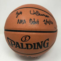 "ZION WILLIAMSON Autographed New Orleans Pelicans ""NBA Debut 1/22/20"" Basketball FANATICS LE 50"