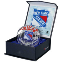 KAKKO KAAPO Autographed NY Rangers Game Used Ice Crystal Puck Display FANATICS